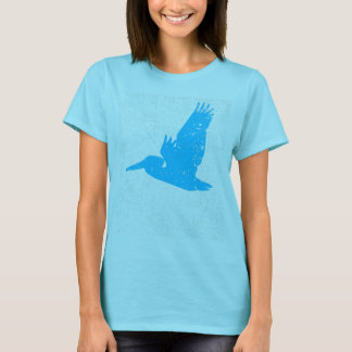 Distressed Sky Blue Pelican Silhouette T-Shirt
