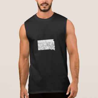 Distressed South Dakota Silhouette Sleeveless T-shirt