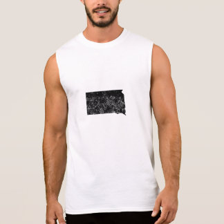Distressed South Dakota Silhouette Sleeveless T-shirts