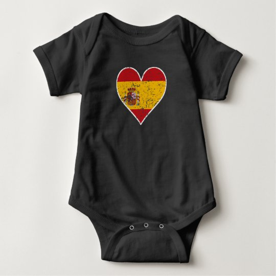Distressed Spanish Flag Heart Baby Bodysuit