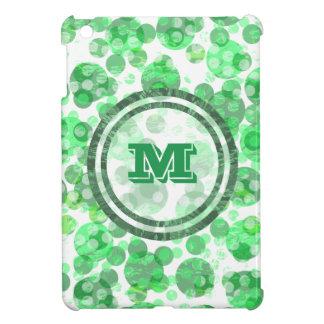 Distressed Spots Green Monogram iPad Mini Cases