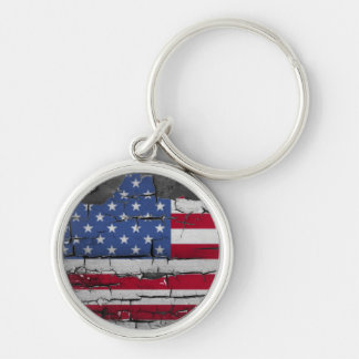 Distressed Stars & Stripes Flag Silver-Colored Round Key Ring
