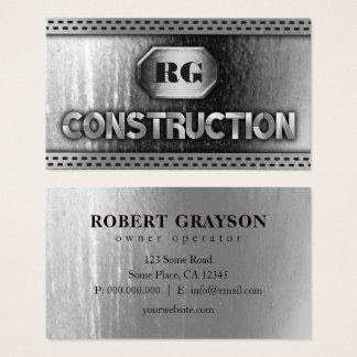 Distressed Steel Metal and Grill Mesh Construction Business Card