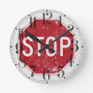 Distressed Stop Sign Clocks