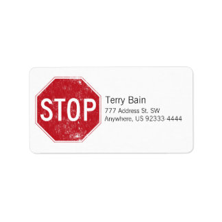 Distressed Stop Sign Label