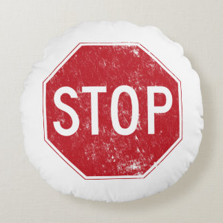 Distressed Stop Sign Round Cushion