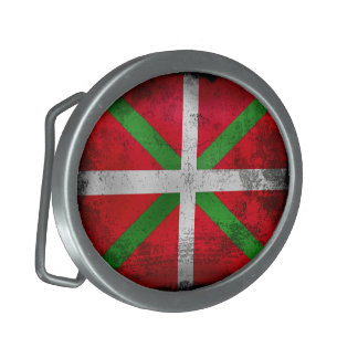 Distressed style Basque Country flag: Ikurriña, Oval Belt Buckle