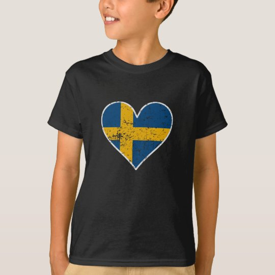 Distressed Swedish Flag Heart T-Shirt