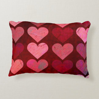 Distressed Texture Valentine Red and Pink Hearts Decorative Cushion