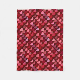 Distressed Texture Valentine Red and Pink Hearts Fleece Blanket
