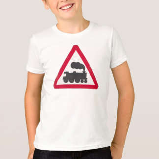 Distressed Train Traffic Sign Boys T-Shirt