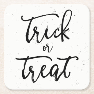 Distressed Trick Or Treat Halloween Square Paper Coaster