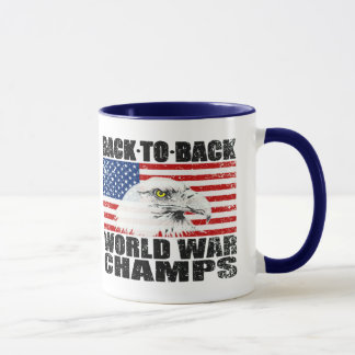 Distressed U.S. Flag & Eagle World War Champs Mug