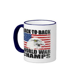 Distressed U.S. Flag & Eagle World War Champs Ringer Mug