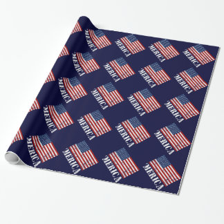 Distressed U.S. Flag 'MERICA Wrapping Paper