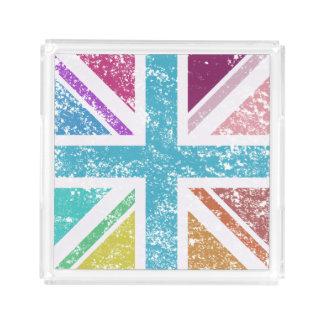Distressed Union Flag Multicol Square Acrylic Tray
