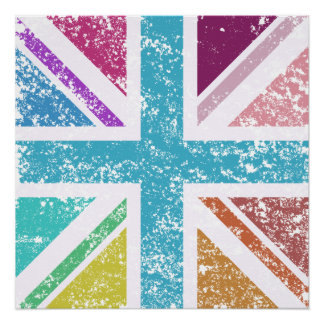 Distressed Union Flag Multicol Square Poster