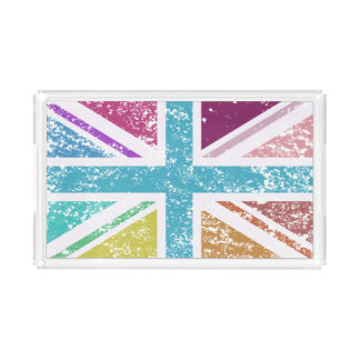 Distressed Union Flag Multicolored Acrylic Tray