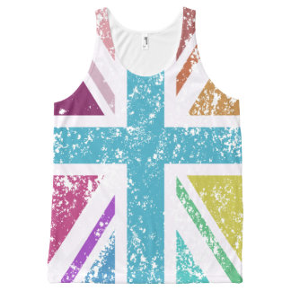 Distressed Union Flag Multicolored All-Over Print Singlet