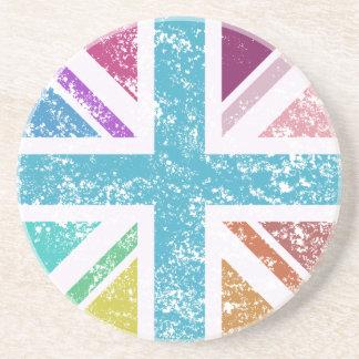 Distressed Union Flag Multicolored Coaster