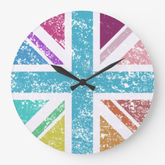 Distressed Union Flag Multicolored Large Clock