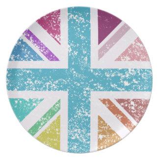 Distressed Union Flag Multicolored Plate