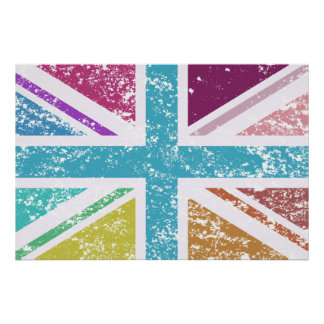 Distressed Union Flag Multicolored Poster