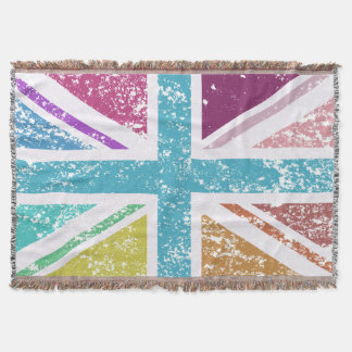 Distressed Union Flag Multicolored Throw Blanket