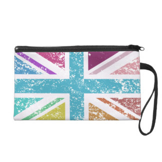 Distressed Union Flag Multicolored Wristlet