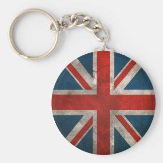 Distressed Union Jack Basic Round Button Key Ring