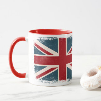 DISTRESSED UNION JACK BRITISH FLAG COFFEE MUG