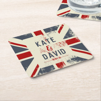 Distressed Union Jack Couple's Names Wedding Favor Square Paper Coaster
