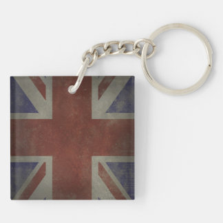 Distressed Union Jack Double-Sided Square Acrylic Key Ring