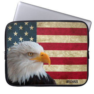 Distressed USA Flag Eagle Laptop Sleeve