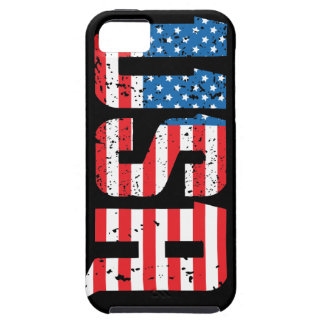 Distressed USA with American flag background iPhone 5 Cases