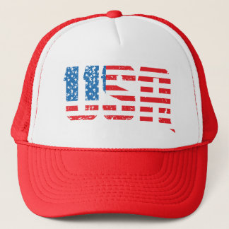 Distressed USA with Old Glory background Trucker Hat