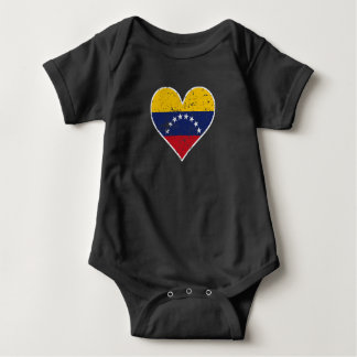 Distressed Venezuelan Flag Heart Baby Bodysuit