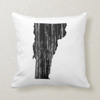 Distressed Vermont State Outline Throw Pillow