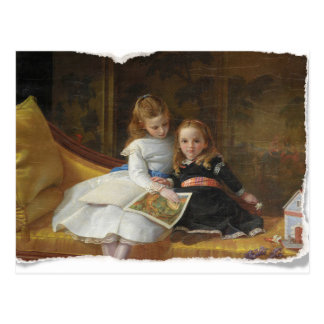Distressed Victorian Two Young Girls Postcard