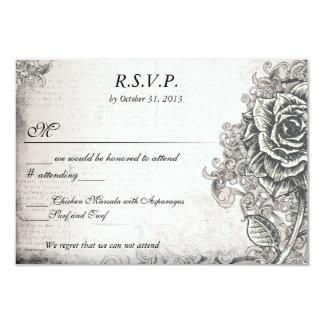 Distressed Victorian Vintage Tattoo Rose  RSVP 9 Cm X 13 Cm Invitation Card