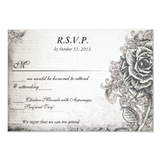 Distressed Victorian Vintage Tattoo Rose  RSVP Card