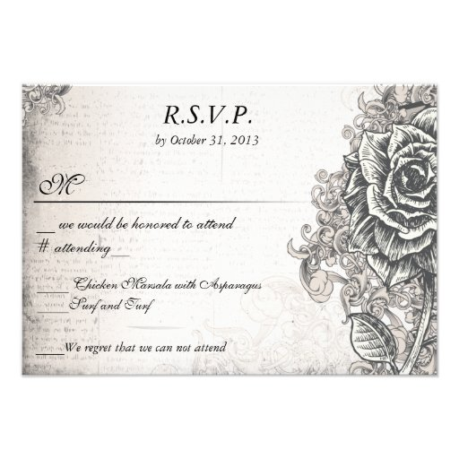 Distressed Victorian Vintage Tattoo Rose  RSVP Custom Announcements
