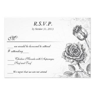 Distressed Victorian Vintage Tattoo Rose  RSVP Personalized Invitation