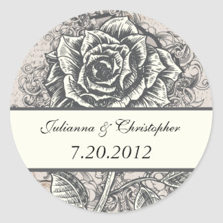 Distressed Victorian Vintage Tattoo Rose Wedding D Round Sticker