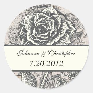 Distressed Victorian Vintage Tattoo Rose Wedding D Round Sticker