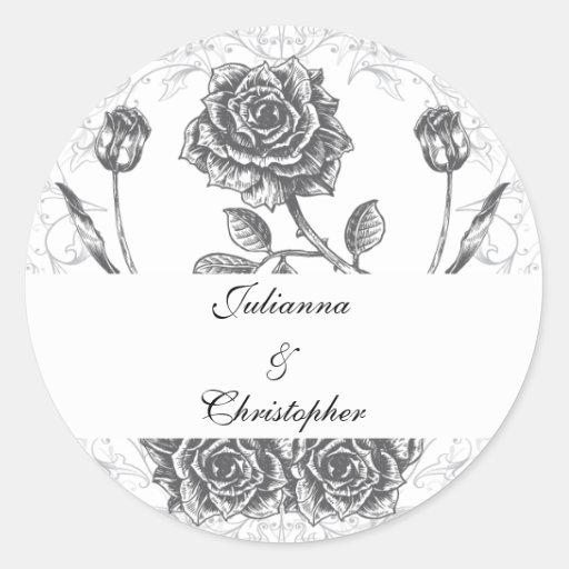 Distressed Victorian Vintage Tattoo Rose Wedding D Round Stickers