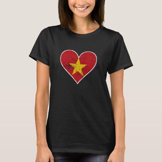 Distressed Vietnamese Flag Heart T-Shirt