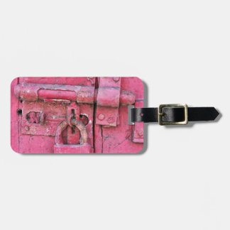 Distressed Vintage Lock Painted Pink, Deadbolt Luggage Tag