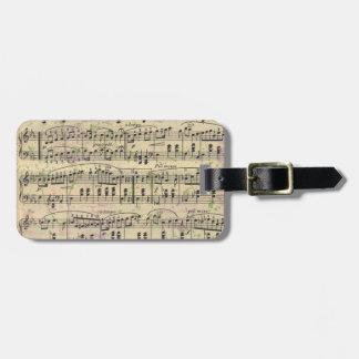 Distressed Vintage Music Luggage Tag