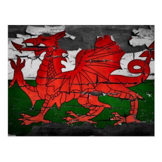 distressed wales flag postcard
